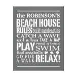 Personalised Family Beach House Rules Grey | White Canvas Print