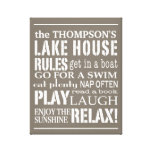 Personalised Family Lake House Rules Brown | White Stretched Canvas Print