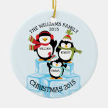 Personalised Family Of 3 Penguins Christmas Round Ceramic Decoration