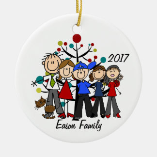 Personalised Family of Five With Brown Cat Ornamen Ceramic Ornament