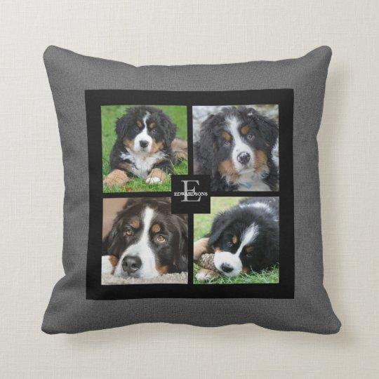 Personalised Family photo collage grey burlap Cushion