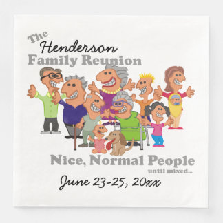 Personalised Family Reunion Funny Cartoon Disposable Napkins