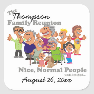 Personalised Family Reunion Funny Cartoon Square Sticker