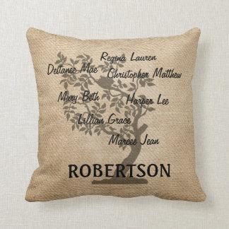 Personalised Family Tree Burlap Add 7 Names Cushion