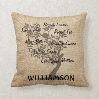 Personalised Family Tree Burlap Add Names Cushion