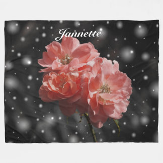 Personalised Fantasy Rose Fleece Blanket