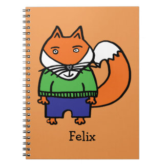Personalised Felix the Fox Spiral Notebook