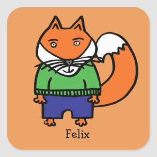 Personalised Felix the Fox Square Sticker