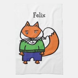 Personalised Felix the Fox Tea Towel