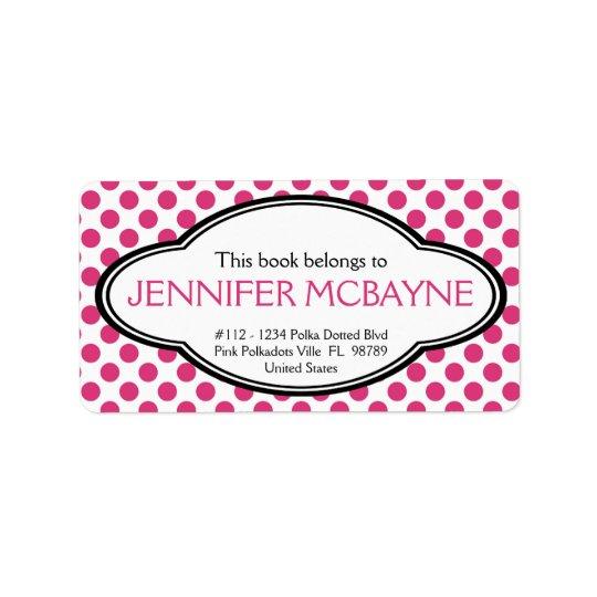 Personalised Feminine Pink Polkadots Bookplate Address Label