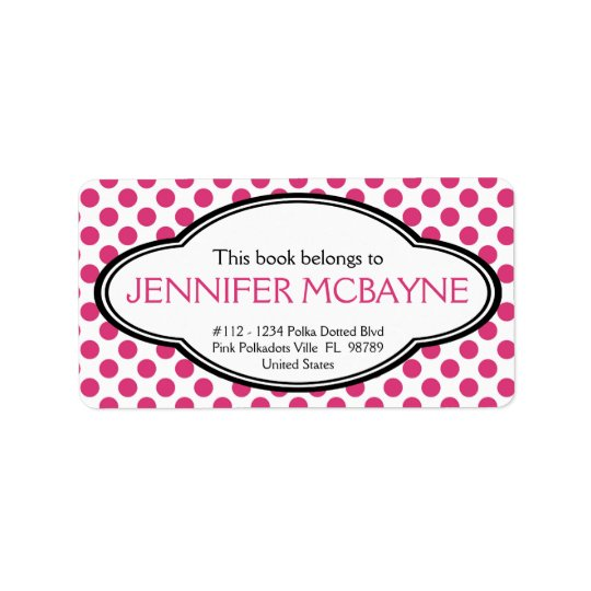 Personalised Feminine Pink Polkadots Bookplate Label