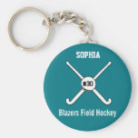 Personalised Field Hockey Team Name Jersey Number Basic Round Button Key Ring