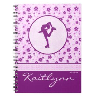 Personalised Figure Skater Purple Heart Floral Notebook