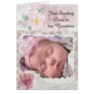 Personalised  Floral Card for Grandma from Baby