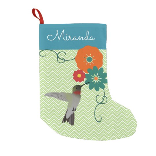 Personalised Floral Hummingbird Small Christmas Stocking