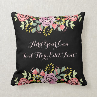 Personalised floral motivational quote cushion