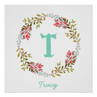Personalised Floral Watercolor Initial Poster