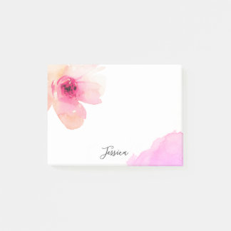 Personalised Floral Watercolor Pink White Flower Post-it Notes