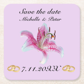 """Personalised Floral Wedding """"Save The Date"""" Square Paper Coaster"""