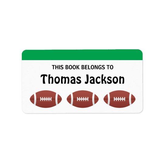 Personalised football cartoon bookplates for kids address label