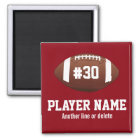 Personalised Football Team Name Jersey Number Magnet