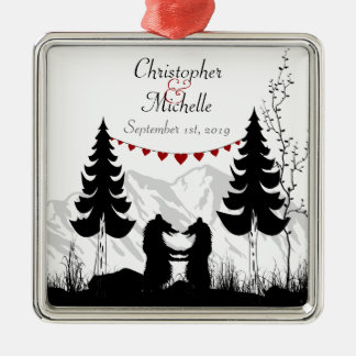 Personalised for Couples Charming Mountain Bears Silver-Colored Square Decoration