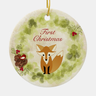 Personalised Fox and Wreath Baby's First Christmas Ceramic Ornament
