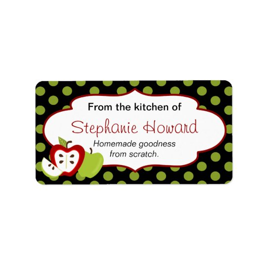 Personalised From The Kitchen With Apples Label