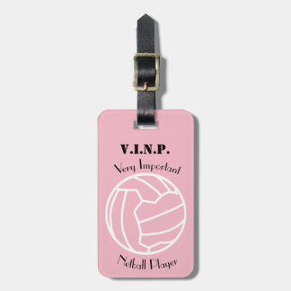 Personalised Fun Netball Themed Ball design Luggage Tag