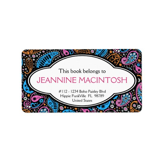 Personalised Funky Paisley Patterned Bookplate Label