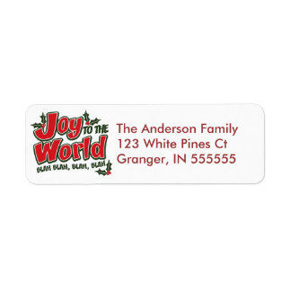 Personalised Funny Joy to the World Address Labels