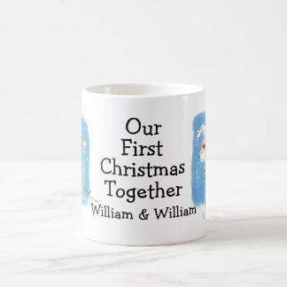 Personalised Gay Rabbits First Christmas Together Basic White Mug