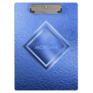 Personalised Geometric Blue Shiny Clipboard