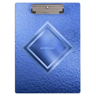 Personalised Geometric Blue Shiny Clipboard