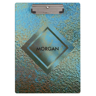 Personalised Geometric Grungy Gold Shiny Clipboard