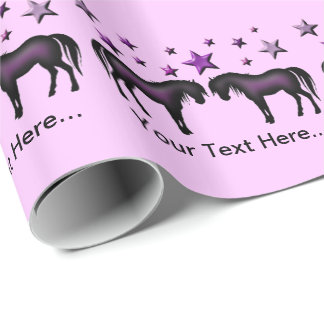 Personalised Gift Wrap - Purple Ponies And Stars