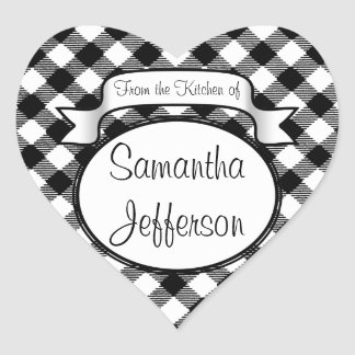 Personalised Gingham From The Kitchen of Label Heart Sticker