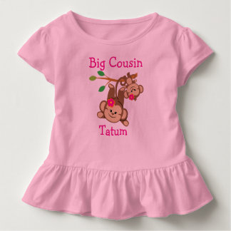 Personalised Girl Monkeys Big Cousin T-shirt