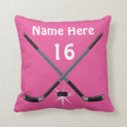 Personalised Girls Hockey Pillows her NAME, NUMBER