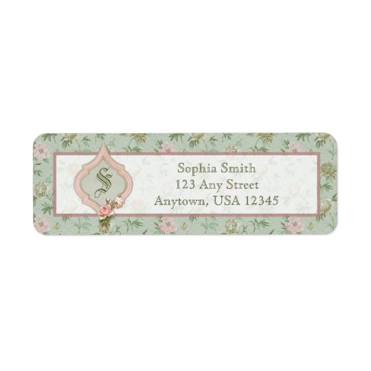 Personalised Girly Chic Green and Pink Floral Return Address Label