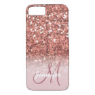 Personalised Girly Rose Gold Glitter Sparkles Name iPhone 8/7 Case