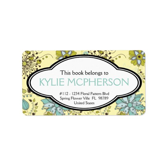 Personalised Girly Spring Green Floral Bookplate Label