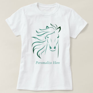 Personalised Glamourous Mane Horse Pony Art Teal T-Shirt