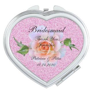 Personalised Glitter Bridesmaid Floral Makeup Mirror