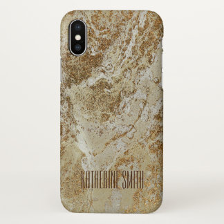 Personalised Glitter Golden Gold Marble iPhone X Case