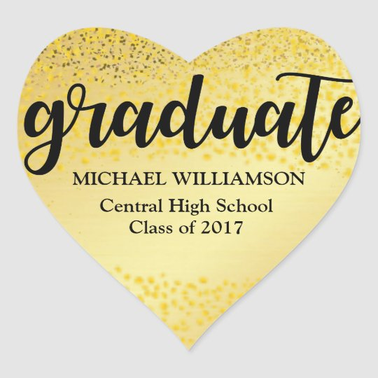 Personalised Gold and Black 2018 Heart Graduation Heart Sticker