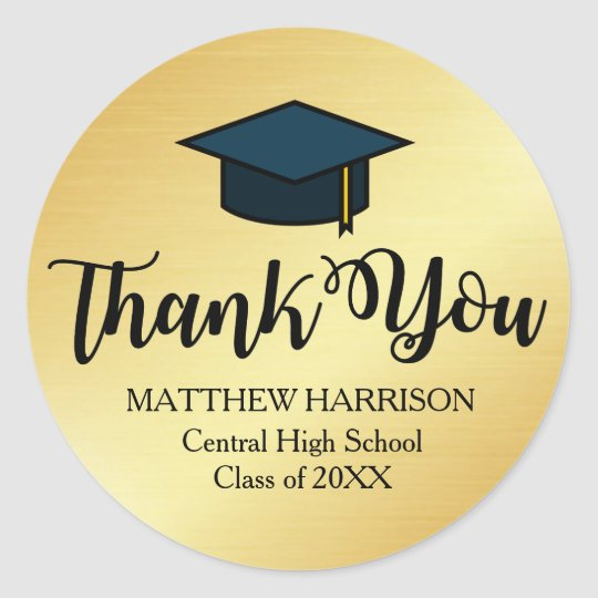 Personalised Gold and Black Thank You Graduation Classic Round Sticker