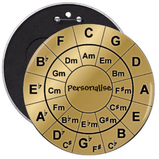 Personalised Gold Badge Music Lovers Chord Wheel