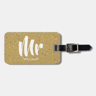 Personalised Gold Dust Confetti Mr Luggage Tag