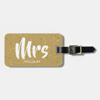 Personalised Gold Dust Confetti Mrs Luggage Tag